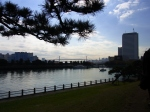 View from Shinhi-no-kuchiyama across Tokyo Bay to the Rainbow Bridge