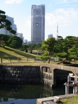 View from the Yokobori sluice gate with Tokyo Tower in the distance