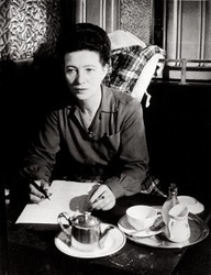 writer's desk Simone de Beauvoir cafe