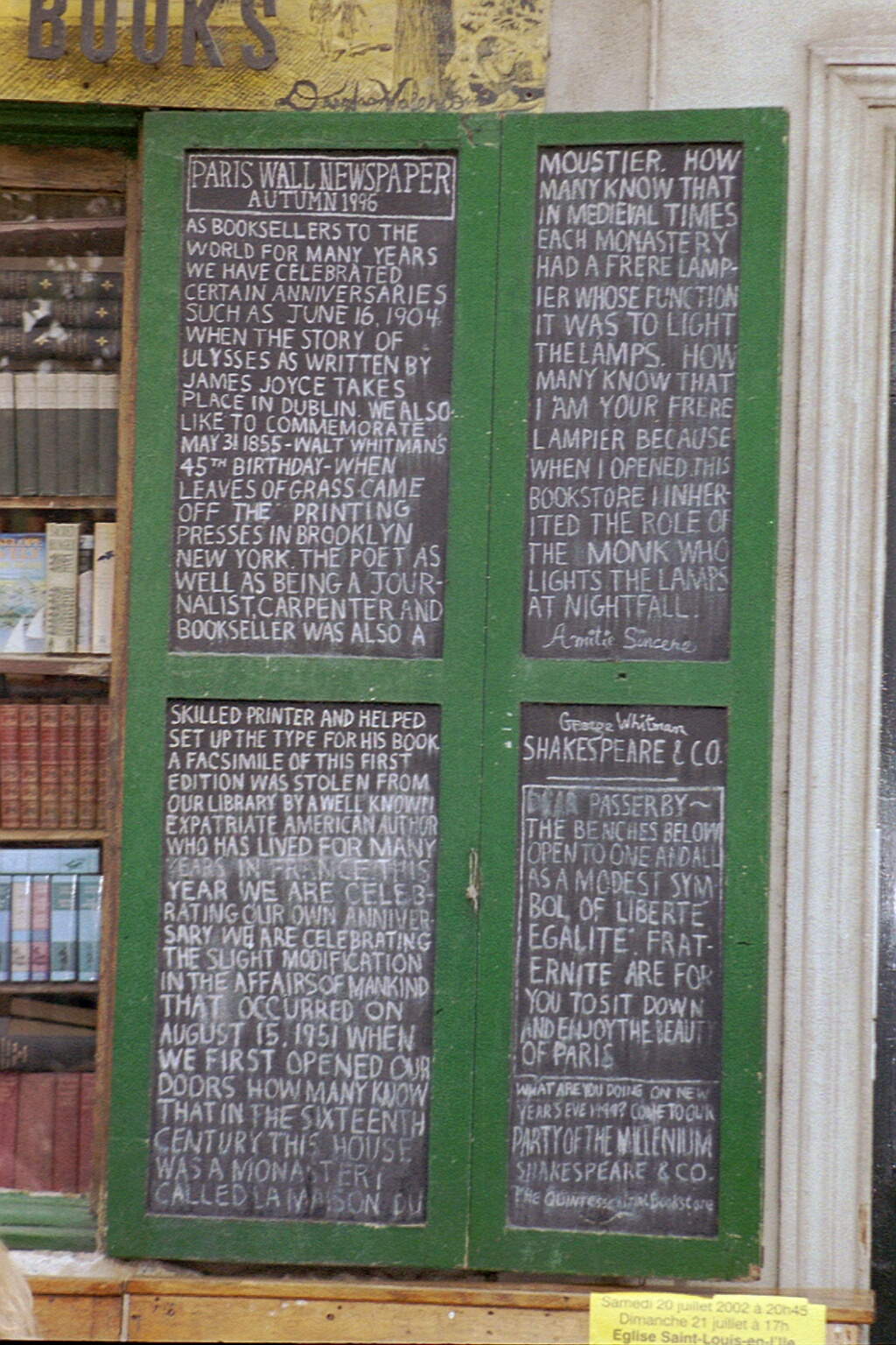 Paris Wall Newspaper, Shakespeare and Co