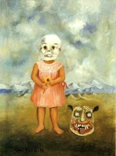 little girl with a death mask